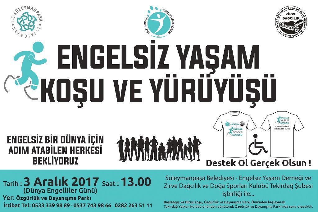 Dünya Engelliler Gününde Engelsiz Yaşam Koşu ve Yürüyüşü düzenlenecek