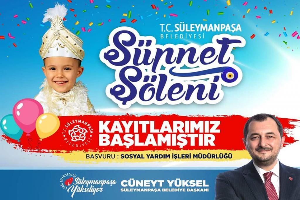 Süleymanpaşa Belediyesi Sünnet Şöleni düzenleyecek