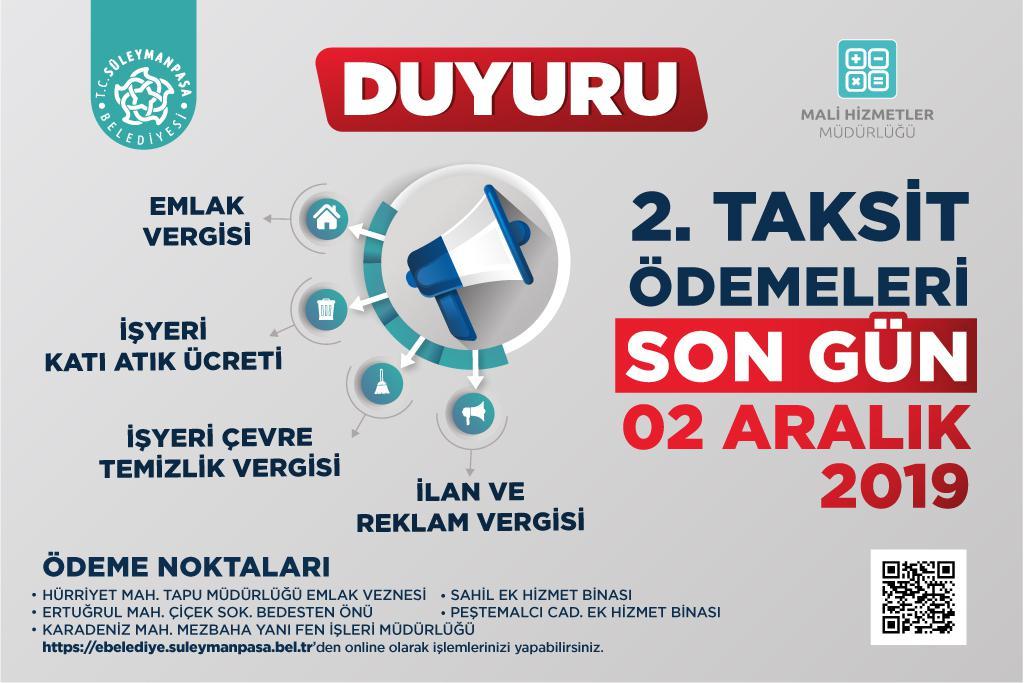 DUYURU: Vergi Ödemeleri 2. Taksidi