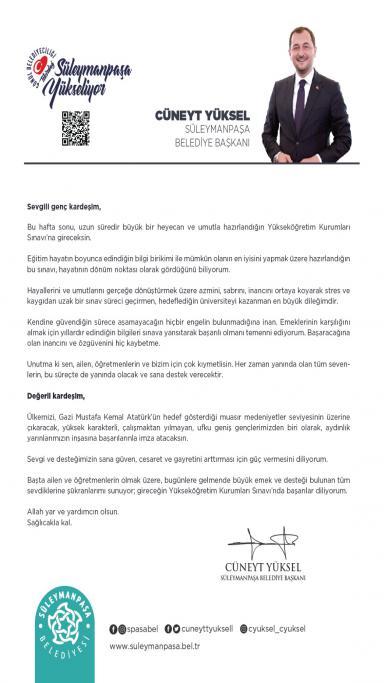 Başkan Yüksel'den üniversite adaylarına mektup