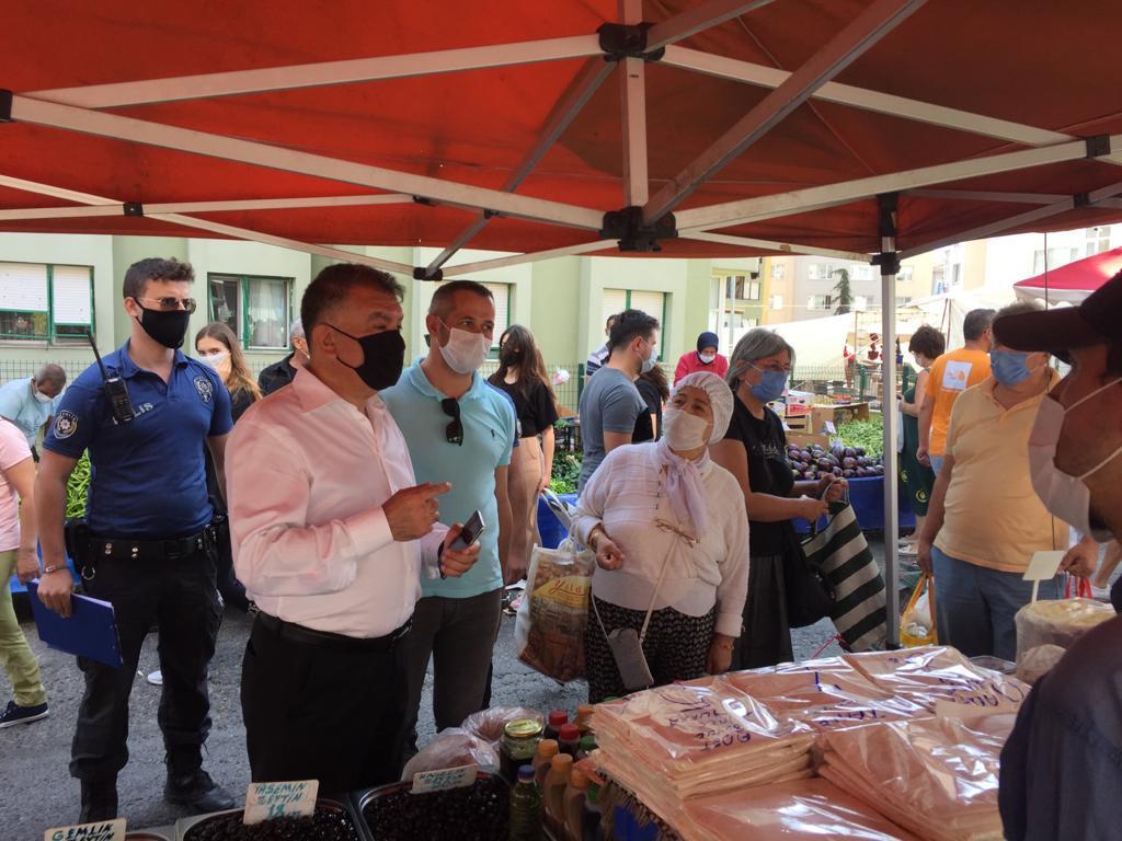Hürriyet Mahallesi semt pazarında Korona denetimi yapıldı