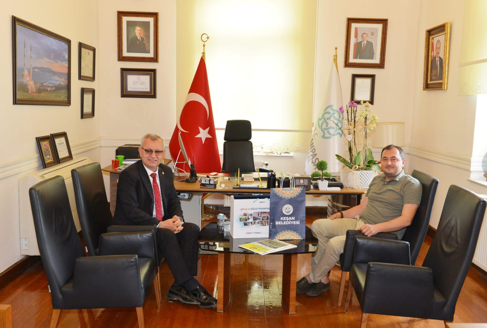 Başkan Yüksel Keşan Belediye Başkanı Helvacıoğlu'nu ağırladı